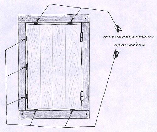 Технологические прокладки при выставлении двери. Деревянные двери своими руками.