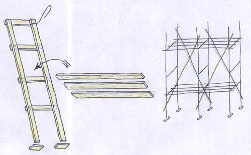 Рисунок стоек, комплектов и всего в сборе для строительных лесов